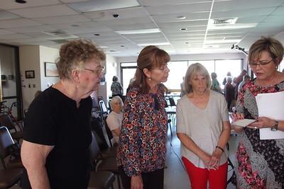 Kaye Faircloth, Alejandrina Nunez, Karen Steinberg listening to Nancy talk about tile backings