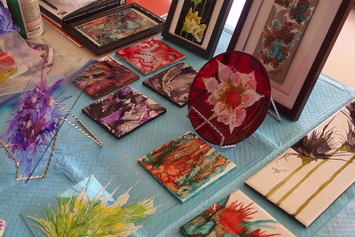 Nancy's creations on glass and tiles.