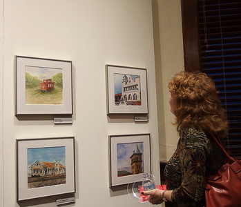 Rachel admiring exhibtion
