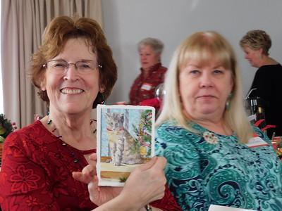 Ruth Burkett with Dorian's card .   Debra Vance, Cindy Lane and Johnnie Gubanski