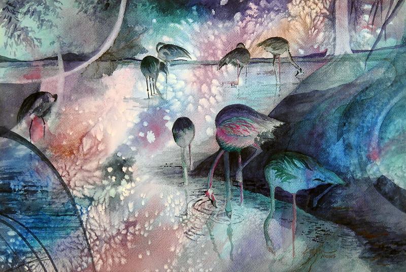"Nicholson's Peerless Transparent Watercolor Award: Pitman, Karin ""Flamingo Blues"""