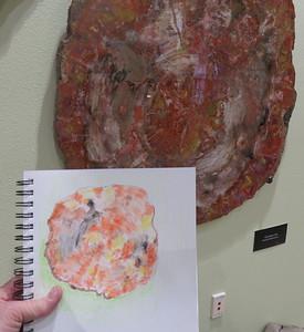 Penny Duncklee petrified wood sketch  - NMSU Zuhl Museum - SC - 20180116