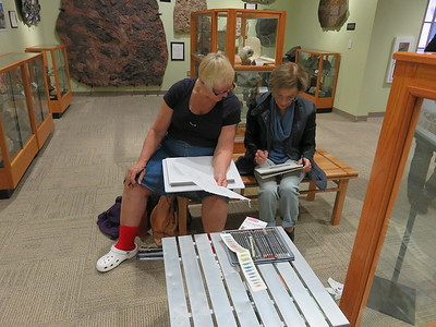 Jeannie and Beverley sketching at the NMSU Zuhl Museum - SC - 20180116