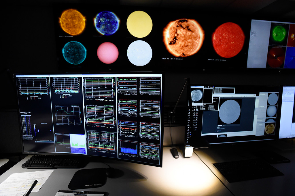 . Different views of the sun are displayed on monitors at the Space Weather Prediction Center on Friday on the NOAA campus in Boulder. For more photos of the space weather forecasters at work go to www.dailycamera.com Jeremy Papasso/ Staff Photographer/ Jan. 13, 2017