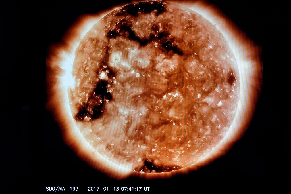 . The sun is displayed on a screen at the Space Weather Prediction Center on Friday on the NOAA campus in Boulder. For more photos of the space weather forecasters at work go to www.dailycamera.com Jeremy Papasso/ Staff Photographer/ Jan. 13, 2017