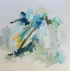Aqua Marine Sunrise 2-Hibberd, 40x40 canvas