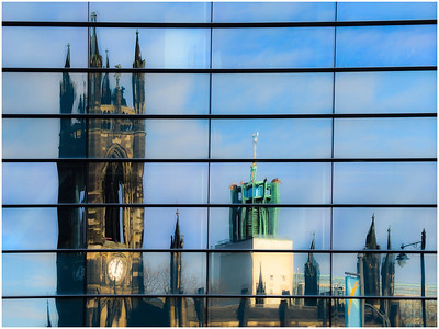 CHURCH AND CITY HALL IN REFLECTION  (REVERSED)!