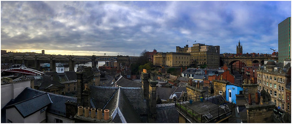 NEW YEAR, LOW KEY, QUAYSIDE PANORAMA - WITH SEAGULL