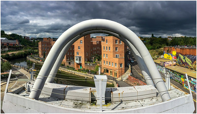 GREY DAY OVER THE OUSEBURN FROM THE GLASSHOUSE BRIDGE.