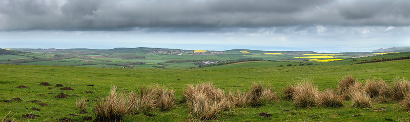 Panorama from American Way over Staithes, Hinderwell and Runswick Bay