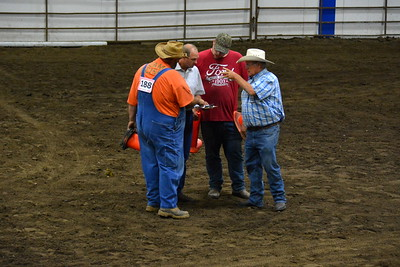 Owners, judge and announcer for draft horses in Arena 1 - 2017 ND State Fair - 7-22-17