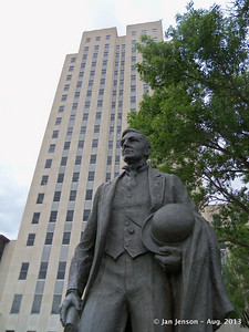 Statue of John Burke in front of ND State Capitol