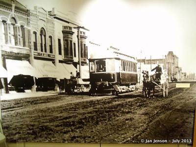 Old photo looking East on Main Street in Bismarck