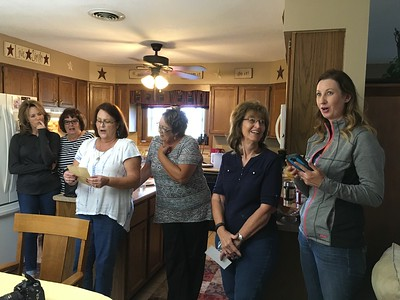 Nancy reads a letter from Jan Robinson (when she was in third grade) to  Elizabeth Hill.  (L-R) Barb, Patty, Nancy, Mary, Jannette and Tracey.