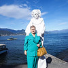 Joselyn and a mime pose on the shores of Lake Maggiore.