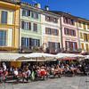 "Dining at the restaurants in the ""central piazza"" in Orta."