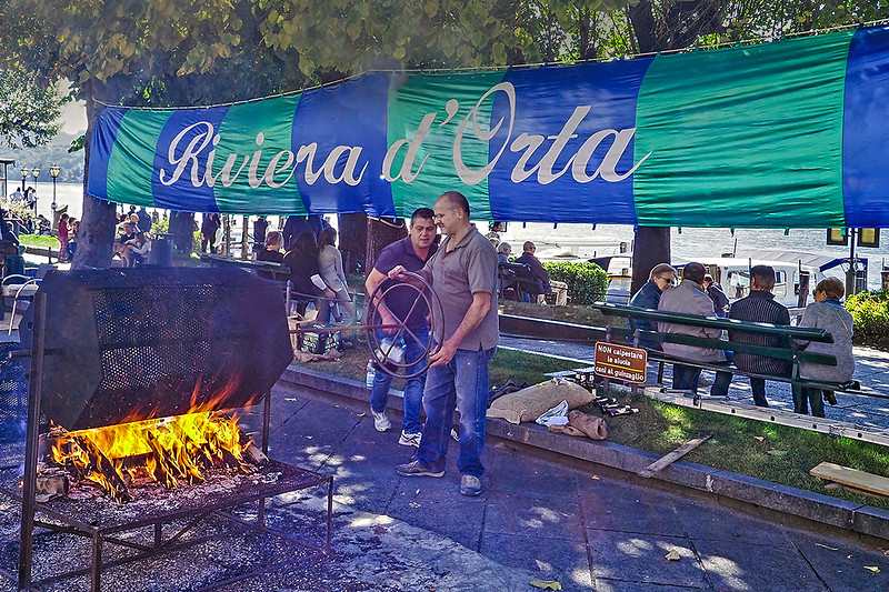 The roasting of the chestnut on the plaza in Orta