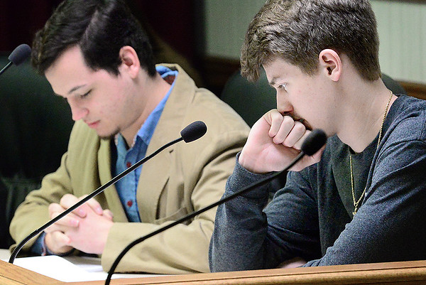 "KEVIN HARVISON | Staff photo Pictured far right, ""acting"" city counsilman Zack Lerblanc looks over a proposal during a mock city council meeting for MHS Student Government Day Thursday."