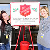 Kevin Harvison | Staff photo<br /> Volunteer bell ringers for the Salvation Army pictured from left are, Holly Ledford and Shanna Smith both representing the Washington Early Childhood Center/Kibios Head Start Thursday morning at Walmart.