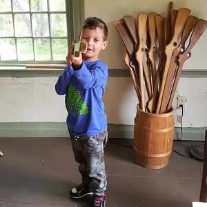 Jaydyn with a wooden musket