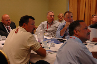 Left to right, Fred Paradis CSM, Cary Citro, Wayne Markman, Bill Frisbie, Doug Freeman, Paul Burgio and Rudi Otto listen to a presentation at the NESDA Board meeting.