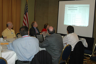Left to right, Dave Prince, Paul Burgio, Bill Sims, Mack Blakely, Fay Wood, and Brian Gibson view a presentation at the NESDA Board meeting.