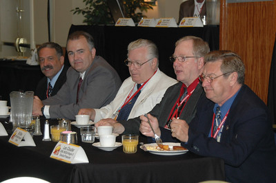 NESDA Region Directors Paul Burgio; Doug Freeman CSM; George Weiss CSM, EHF; Bill Sims CSM; and Leo Cloutier CSM were seated at the front of the room at the Pioneer Breakfast.
