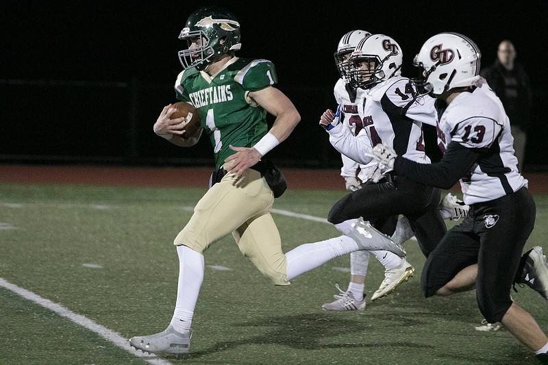 Nashoba Regional High School football hosted Groton Dunstable Regional high School on Friday night, Nov. 15, 2019. NRHS's #1 Josh Digeronimo takes off for a touchdown. SENTINEL & ENTERPRISE/JOHN LOVE