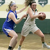 Nashoba Regional High School girls' basketball played Acton-Boxborough Regional High School on Thursday night in Bolton. NRHS's #5 Lexi Richard. SENTINEL & ENTERPRISE/JOHN LOVE