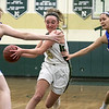 Nashoba Regional High School girls' basketball played Acton-Boxborough Regional High School on Thursday night in Bolton. NRHS's #5 Lexi Richard drives to the hoop. SENTINEL & ENTERPRISE/JOHN LOVE