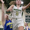 Nashoba Regional High School girls' basketball played Acton-Boxborough Regional High School on Thursday night in Bolton. NRHS's #5 Lexi Richard tries to get a shot off by ABRHS's #12 Bridget Bartlett. SENTINEL & ENTERPRISE/JOHN LOVE