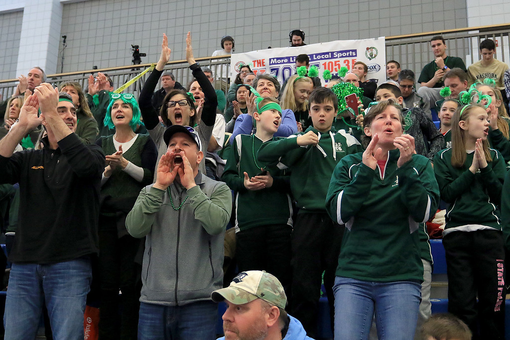 . Nashoba Regional High School beat Groton Dunstable Regional High School on Saturday, March 9, 2019 during the Girls Division II Championship game at Worcester State University. NRHS fans cheer for their team. SENTINEL & ENTERPISE/JOHN LOVE