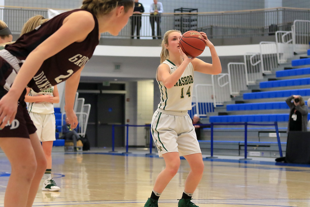 . Nashoba Regional High School beat Groton Dunstable Regional High School on Saturday, March 9, 2019 during the Girls Division II Championship game at Worcester State University. NRHS\'s Julia Roth shots a free throw. SENTINEL & ENTERPISE/JOHN LOVE