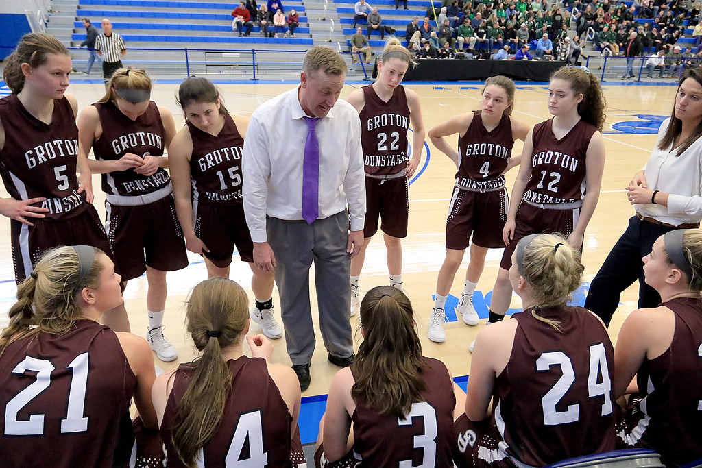 . Nashoba Regional High School beat Groton Dunstable Regional High School on Saturday, March 9, 2019 during the Girls Division II Championship game at Worcester State University.GDRHS\'s coach Mark Hennelly talks to his team during a time out. SENTINEL & ENTERPISE/JOHN LOVE