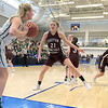 Nashoba Regional High School beat Groton Dunstable Regional High School on Saturday, March 9, 2019 during the Girls Division II Championship game at Worcester State University. GDRHS's Bronwyn Mulligan covers an inbound pass by NRHS's Julia Roth. SENTINEL & ENTERPISE/JOHN LOVE