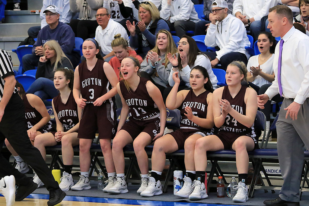 . Nashoba Regional High School beat Groton Dunstable Regional High School on Saturday, March 9, 2019 during the Girls Division II Championship game at Worcester State University. GDRHS players cheer form the bench. SENTINEL & ENTERPISE/JOHN LOVE