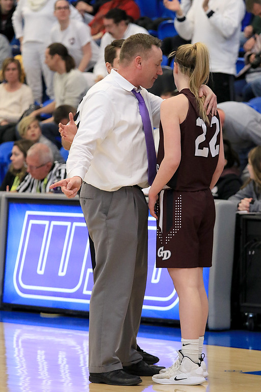 . Nashoba Regional High School beat Groton Dunstable Regional High School on Saturday, March 9, 2019 during the Girls Division II Championship game at Worcester State University. GDRHS\'s coach Mark Hennelly talks to Jullian Van Pelt during a timeout. SENTINEL & ENTERPISE/JOHN LOVE