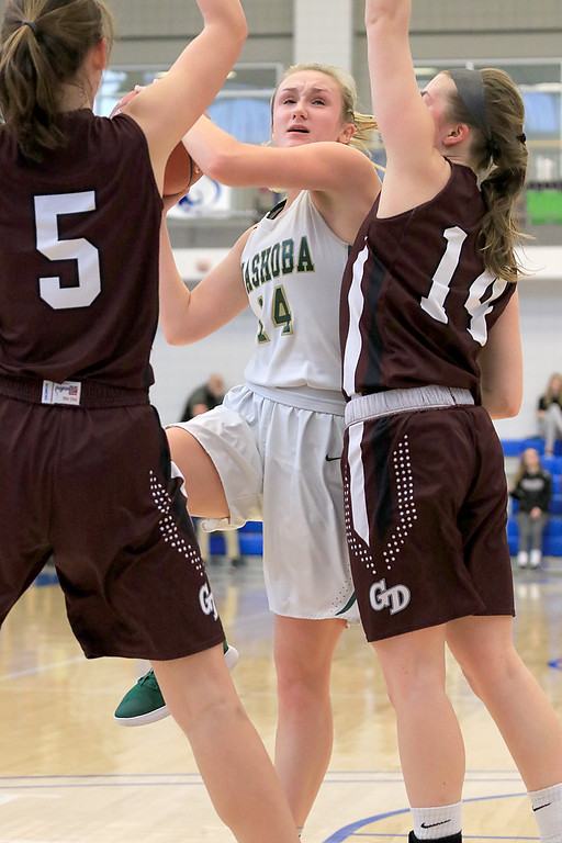 . Nashoba Regional High School beat Groton Dunstable Regional High School on Saturday, March 9, 2019 during the Girls Division II Championship game at Worcester State University. GDRHS\'s Abigail Eisenklam (5) and Hannah Wynn try and stop a shot by NRHS\'s Julia Roth. SENTINEL & ENTERPISE/JOHN LOVE