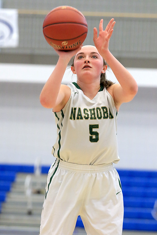 . Nashoba Regional High School beat Groton Dunstable Regional High School on Saturday, March 9, 2019 during the Girls Division II Championship game at Worcester State University. NRHS\'s Alexis Richard shoots a foul shot.  SENTINEL & ENTERPISE/JOHN LOVE