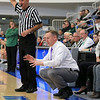 Nashoba Regional High School beat Groton Dunstable Regional High School on Saturday, March 9, 2019 during the Girls Division II Championship game at Worcester State University. GDRHS's coach Mark Hennelly calls instructions from the sidelines.  SENTINEL & ENTERPISE/JOHN LOVE