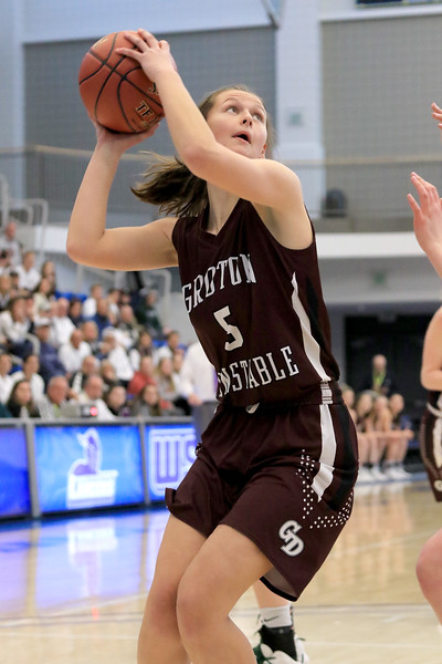 Nashoba Regional High School beat Groton Dunstable Regional High School on Saturday, March 9, 2019 during the Girls Division II Championship game at Worcester State University. GDRHS's Abigail Eisenklam tries to get off a shot.  SENTINEL & ENTERPISE/JOHN LOVE