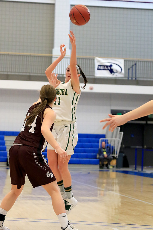 . Nashoba Regional High School beat Groton Dunstable Regional High School on Saturday, March 9, 2019 during the Girls Division II Championship game at Worcester State University. NRHS\'s Abigail McNulty puts up an outside shot over GDRHS\'s Hannah Wynn. SENTINEL & ENTERPISE/JOHN LOVE
