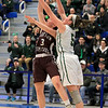 Nashoba Regional High School beat Groton Dunstable Regional High School on Saturday, March 9, 2019 during the Girls Division II Championship game at Worcester State University.GDRHS's Emma Wilson and NRHS's Abigail Eisenklam go up for a rebound. SENTINEL & ENTERPISE/JOHN LOVE