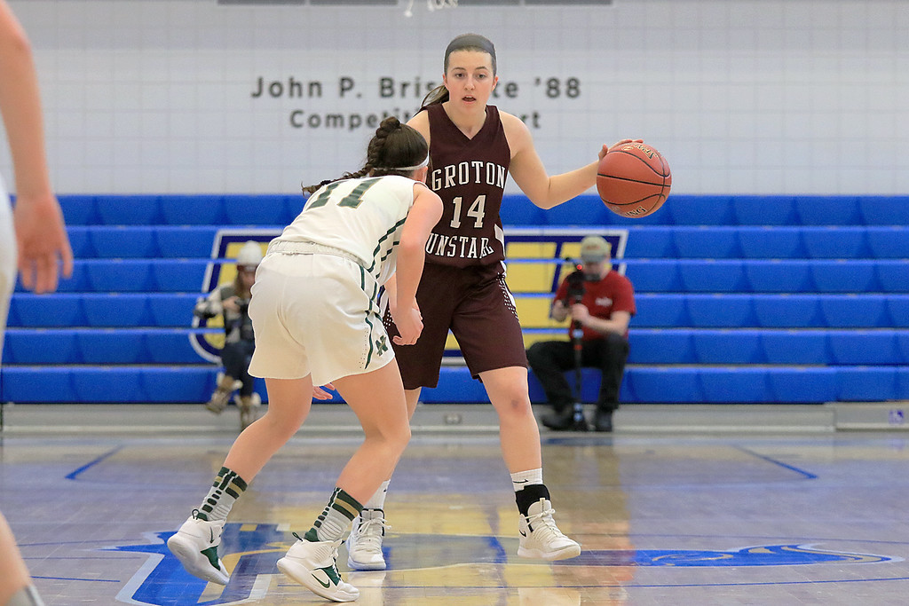 ". Nashoba Regional High School beat Groton Dunstable Regional High School on Saturday, March 9, 2019 during the Girls Division II Championship game at Worcester State University.  NRHS""s Alexis richard covers Hannah Wynn as she brings the ball up court. SENTINEL & ENTERPISE/JOHN LOVE"