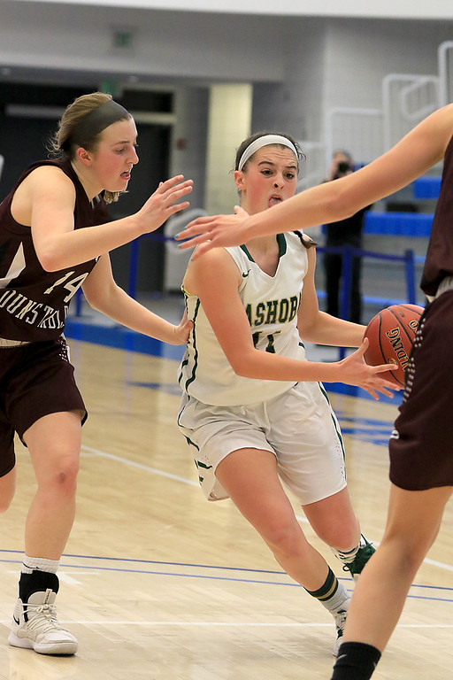 . Nashoba Regional High School beat Groton Dunstable Regional High School on Saturday, March 9, 2019 during the Girls Division II Championship game at Worcester State University. NRHS\'S Abigail McNulty drives to the basket by GDRHS\'s Hannah Wynn. SENTINEL & ENTERPISE/JOHN LOVE
