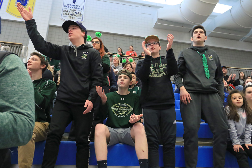 . Nashoba Regional High School beat Groton Dunstable Regional High School on Saturday, March 9, 2019 during the Girls Division II Championship game at Worcester State University. NRHS fans react to a play during action in the game. SENTINEL & ENTERPISE/JOHN LOVE