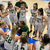 Nashoba Regional High School beat Groton Dunstable Regional High School on Saturday, March 9, 2019 during the Girls Division II Championship game at Worcester State University.NRHS's coach Christina Seabury talks to the team during a timeout. SENTINEL & ENTERPISE/JOHN LOVE