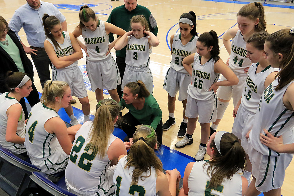 . Nashoba Regional High School beat Groton Dunstable Regional High School on Saturday, March 9, 2019 during the Girls Division II Championship game at Worcester State University.NRHS\'s coach Christina Seabury talks to the team during a timeout. SENTINEL & ENTERPISE/JOHN LOVE
