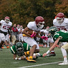 Nashoba Regional High School played Fitchburg High School on Friday afternoon in Bolton. FHS's #3 Latrell Boddiegets ready to be hit by NRHS's #9 Donnovan DeLeon. SENTINEL & ENTERPRISE/JOHN LOVE