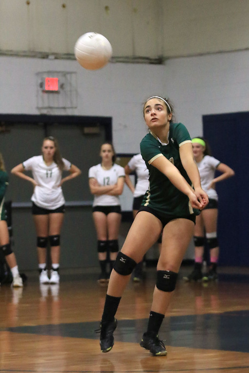 . Nashoba Regional High School volleyball traveled to Fitchburg to play St. Bernard\'s Central Catholic High School on Wednesday afternoon, October 17, 2018. NRHS\'s Sophia Naroian gets ready to hit the ball. SENTINEL & ENTERPRISE/JOHN LOVE